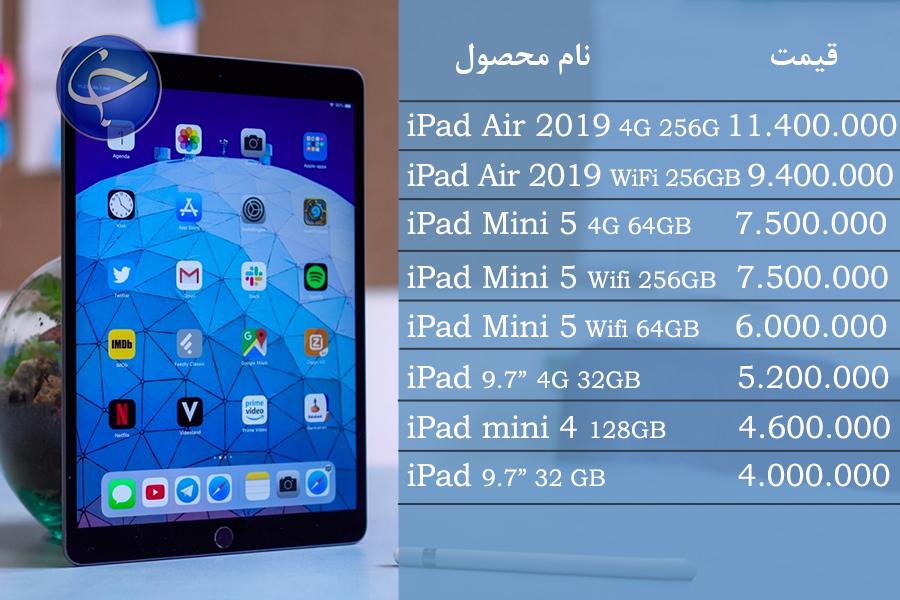 آخرین قیمت انواع تبلت در بازار (تاریخ ۲۷ مرداد) +جدول