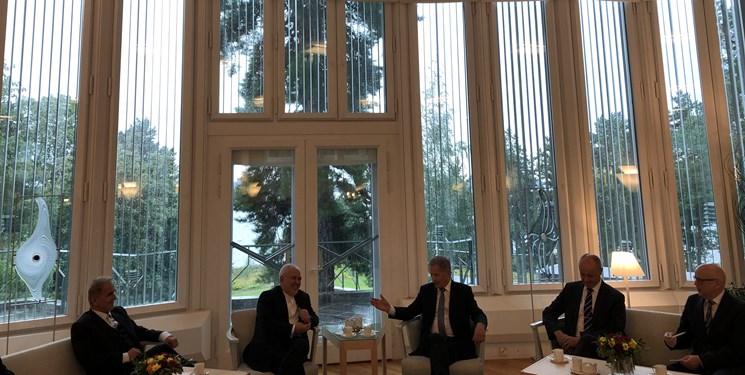 ظریف با رئیس جمهور فنلاند دیدار کرد