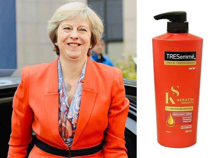 مقایسه خنده دار «ترزا می» با بطریهای شامپو+تصاویر