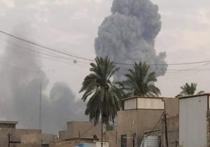 پرواز پهپادها بر فراز پادگان الصقر پیش از انفجار