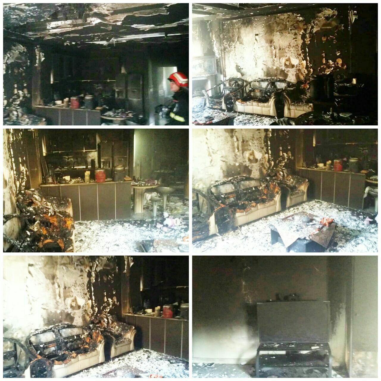 آتش سوزی آپارتمان در حوالی پل بوسار رشت