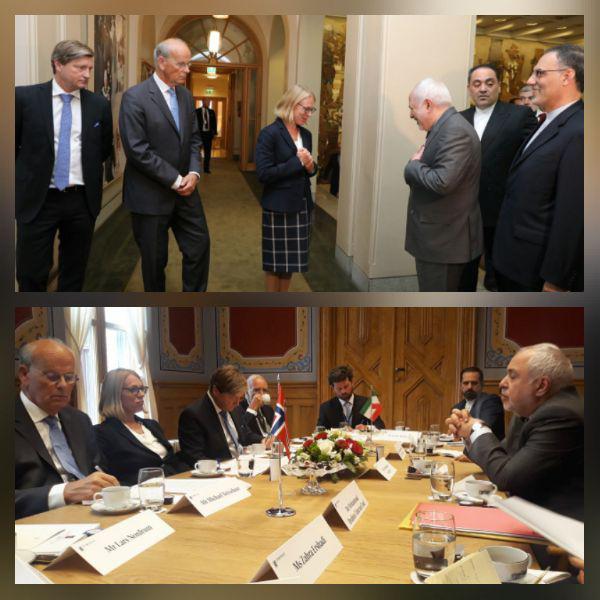 دیدار ظریف با رئیس کمیسیون سیاست خارجی و دفاعی پارلمان نروژ