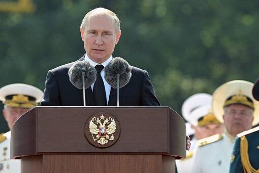 رژه روز نیروی دریایی روسیه با حضور پوتین و دریادار خانزادی