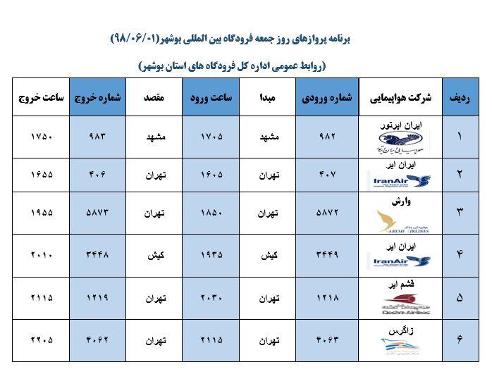 جدول پروازهای فرودگاه بوشهر در اول شهریور ۹۸