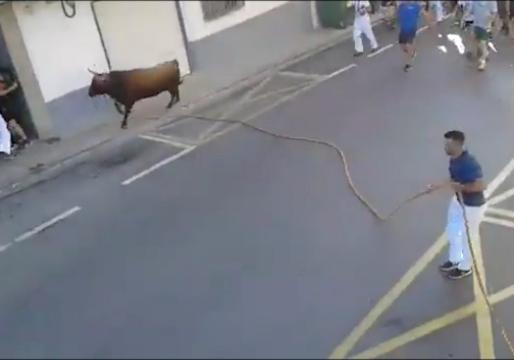 حمله گاو وحشی به شهروندان اسپانیایی + فیلم
