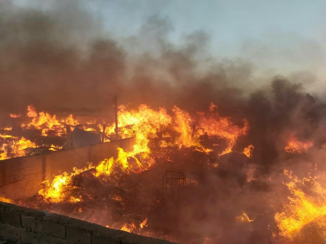آتش سوزی انبار چوب در شهریار به وسعت ۱۶ هزار متری مربع/حادثه مصدومی نداشت