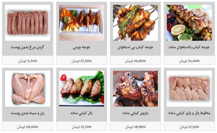 انواع گوشت مرغ قطعه بندی و بسته بندی در غرفه های تره بار + قیمت