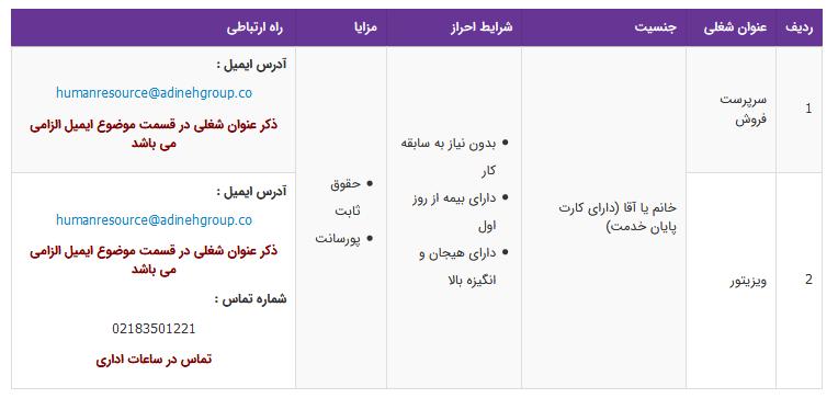 استخدام ۲ عنوان شغلی در تهران