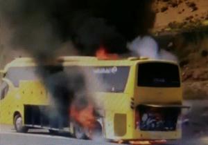 آتش سوزی اتوبوس مسافربری در محور سعادت شهر به مرودشت