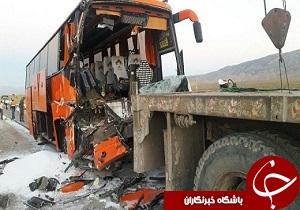 تصادف مرگبار اتوبوس با تریلی در محور نور آباد