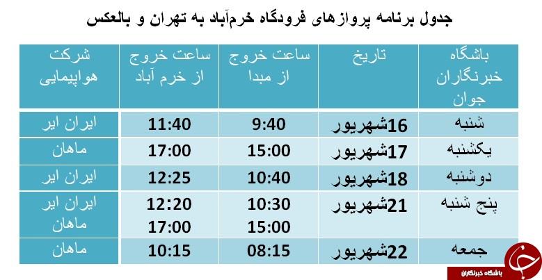برنامه پروازهای فرودگاه خرمآباد از ۱۶ تا ۲۲ شهریورماه