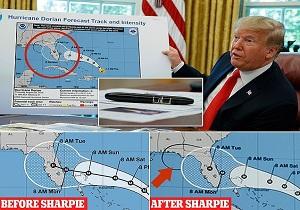 ترامپ خود نقشه مسیر توفان دوریان را دستکاری کرده است