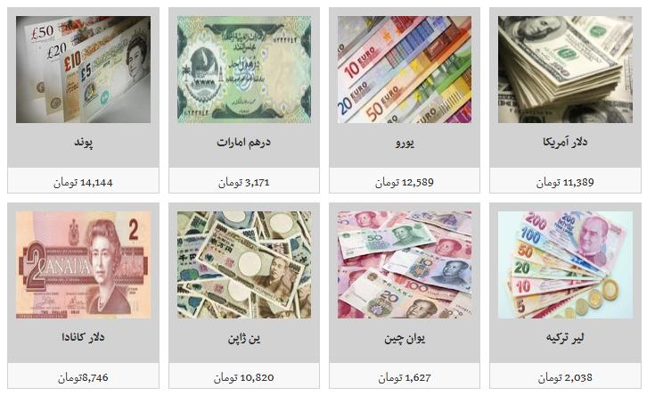 نرخ فروش ارز در صرافی های مجاز/ دلار ۱۱ هزار و ۳۸۹ تومان