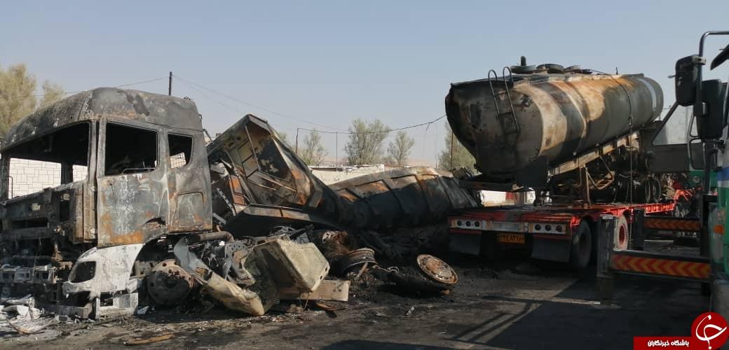 ۵ کشته و مصدوم در برخورد و انفجار یک دستگاه تانکر حمل سوخت با تریلر