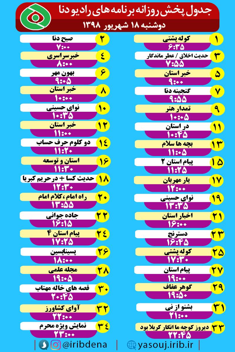 باشگاه خبرنگاران -جدول پخش برنامه های امروز رادیوی دنا