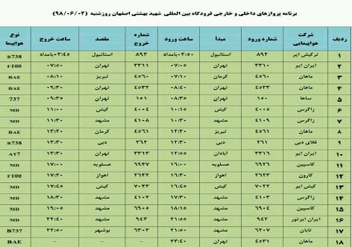 میزبانی فرودگاه اصفهان از مسافران ۱۸ پرواز