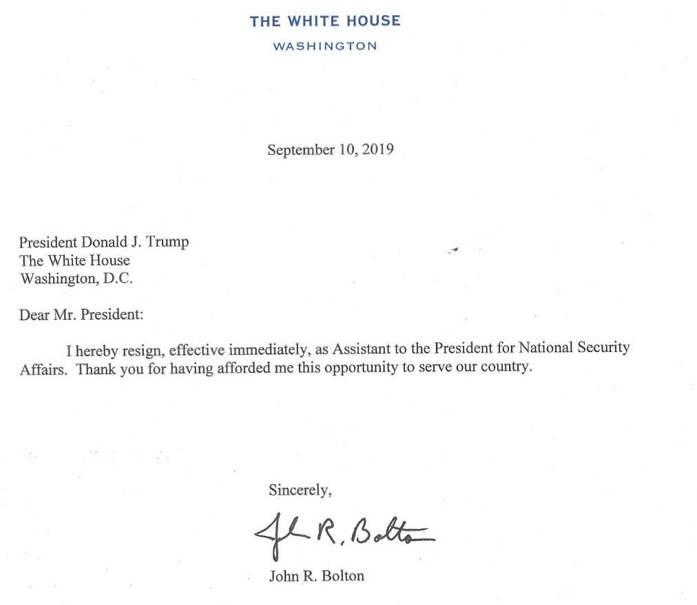 تشکر بولتون از ترامپ در متن استعفانامه خود