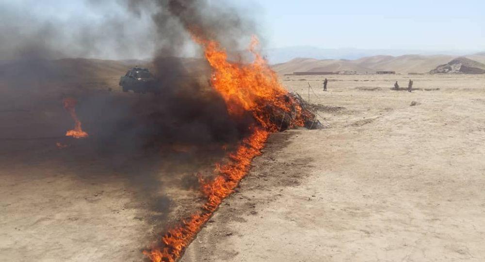 یک و نیم تُن مواد مخدر در ولایت سرپل آتش زده شد