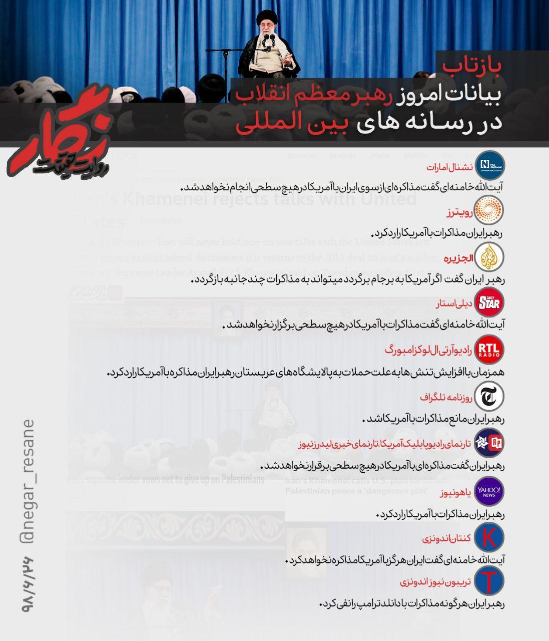 واکنش رسانههای بینالمللی به بیانات امروز رهبرانقلاب