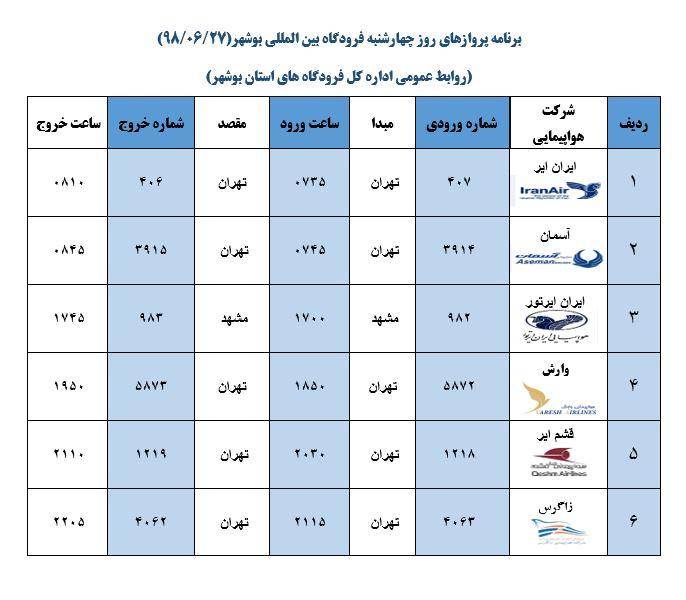 پروازهای فرودگاه بوشهر در ۲۷ شهریور ۹۸