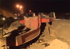 مرگ دو سرنشین تریلی پس از واژگونی در نزدیکی فیروزکوه + فیلم