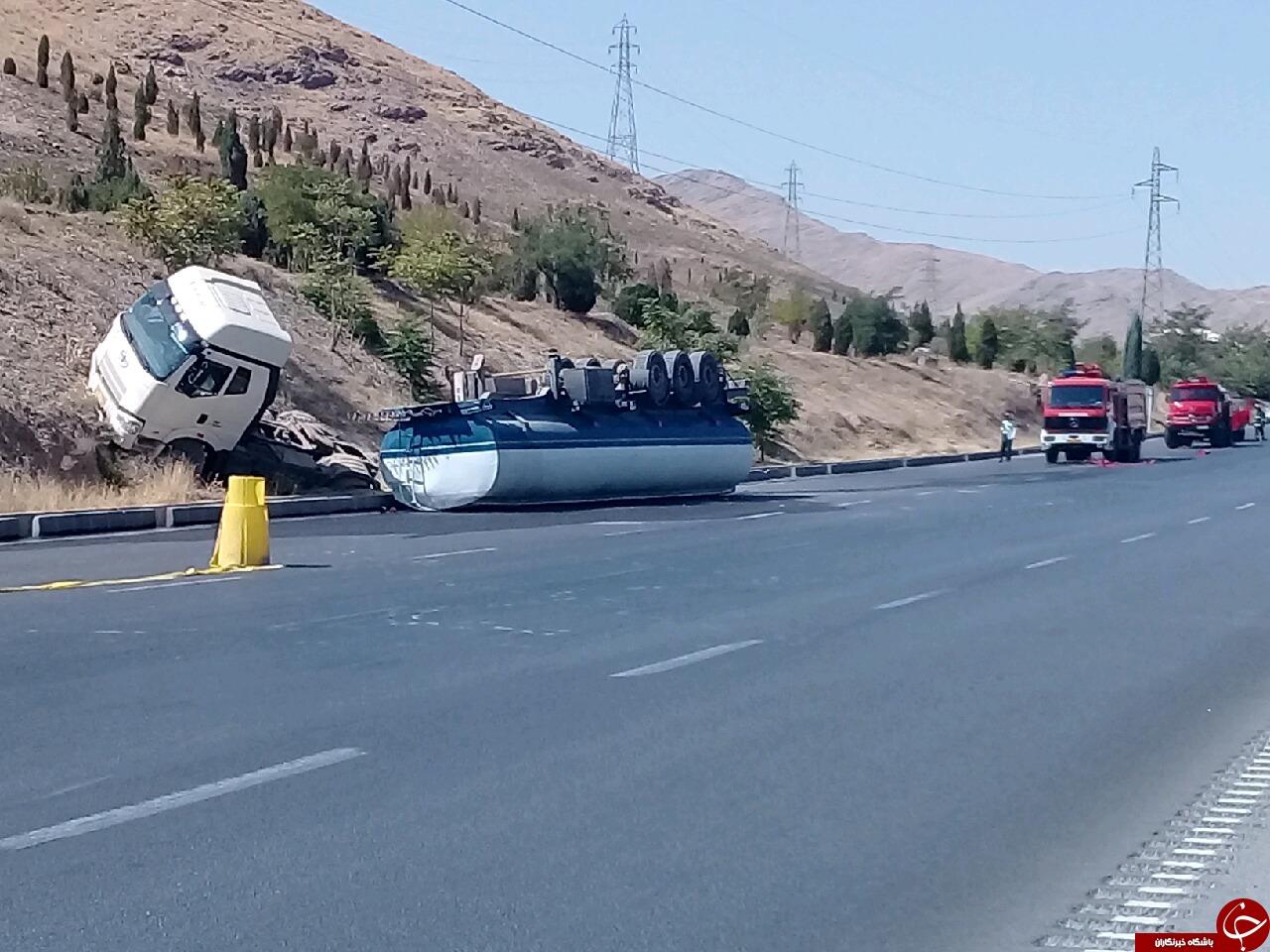 تلاش برای کنترل مواد نفتی تانکر واژگون شده در اراک / اعمال محدودیت ترافیکی در کربندی جنوبی اراک