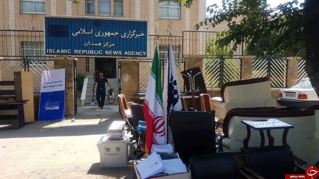 وسایل خبرگزاری ایرنا مرکز همدان در کنار خیابان + عکس