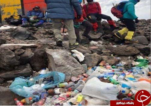 زبالهها نفس کوه دماوند را گرفت/ احتمال ممنوع شدن صعود به دماوند+تصاویر