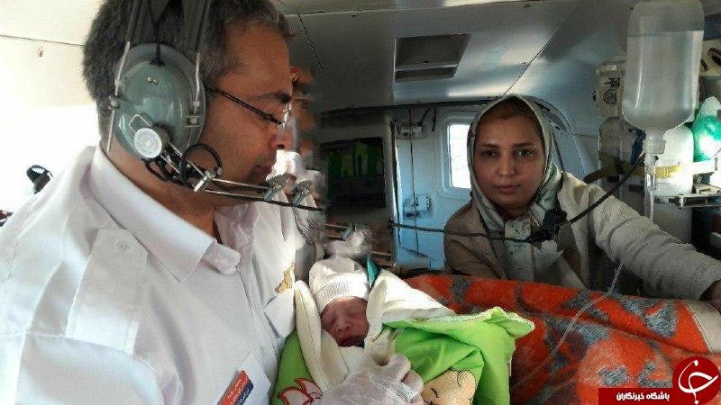 پسر عجولی که در بالگرد به دنیا آمد! + عکس