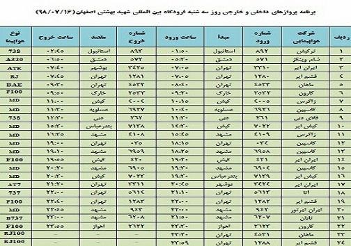 اعلام فهرست پروازهای فرودگاه شهید بهشتی اصفهان