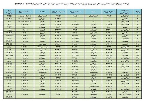 فهرست ۳۰ پرواز فرودگاه بین المللی شهید بهشتی اصفهان