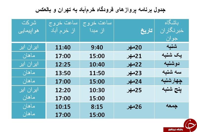 برنامه پروازهای فرودگاه خرمآباد از ۲۰ تا ۲۶ مهر