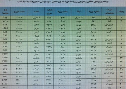 فهرست ۲۱ پرواز فرودگاه بین المللی شهید بهشتی اصفهان