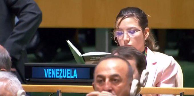 حرکت جالب نماینده ونزوئلا هنگام سخنرانی ترامپ در مجمع عمومی سازمان ملل