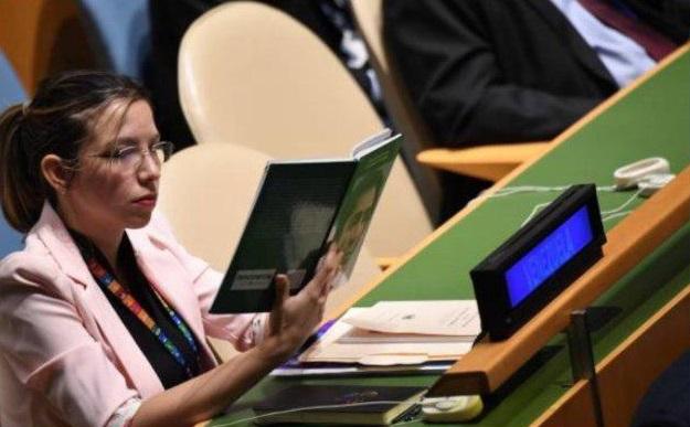 حرکت جالب نماینده ونزوئلا هنگام سخنرانی ترامپ در مجمع عمومی سازمان ملل + عکس