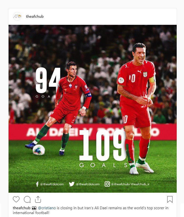 واکنش AFC به نزدیک شدن رونالدو به رکورد دایی