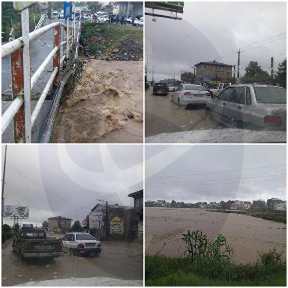 باشگاه خبرنگاران -بارش شدید باران در گیلان  موجب خسارت شد/تخریب شدن چند پل بر اثر بارش شدید+ فیلم و تصاویر