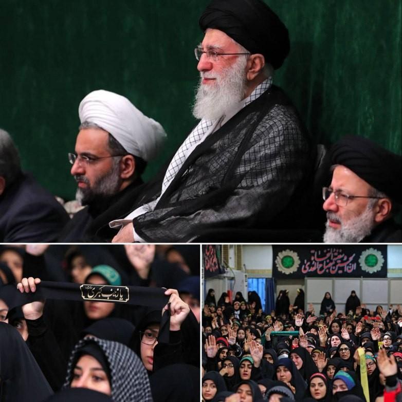 برگزاری مراسم عزاداری اربعین با حضور رهبر انقلاب در حسینیه امام خمینی (ره)+ عکس