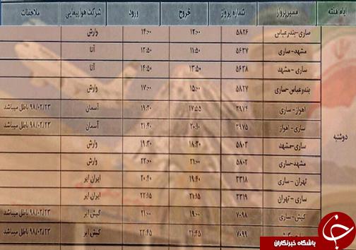 پروازهای دوشنبه ۲۹ مهرماه فرودگاههای مازندران