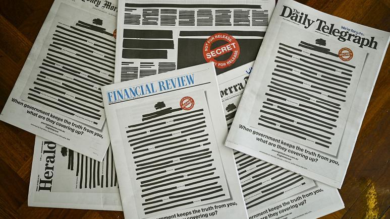 مطبوعات استرالیا سیاه چاپ شدند
