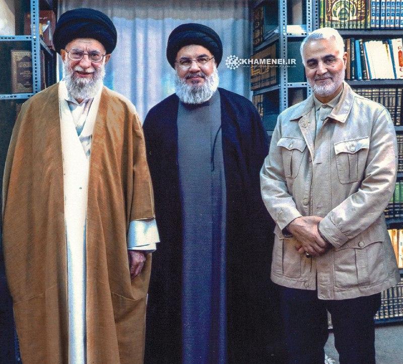 تصویری جدید و منتشر نشده از سردار سلیمانی و سید حسن نصرالله در محضر رهبر معظم انقلاب