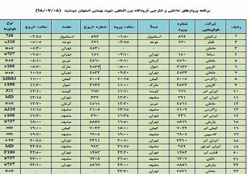 اعلام پروازهای داخلی و خارجی فرودگاه شهید بهشتی اصفهان