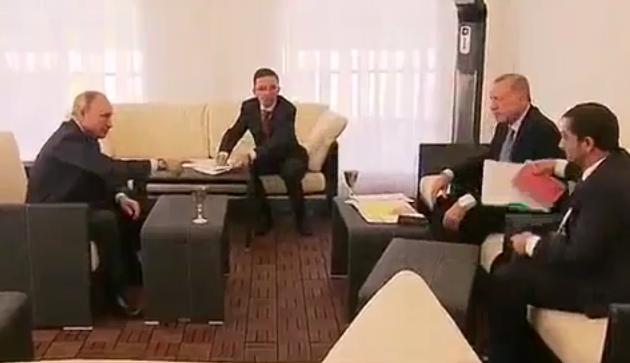 سوتی اردوغان در دیدار با پوتین مقابل خبرنگاران+ فیلم