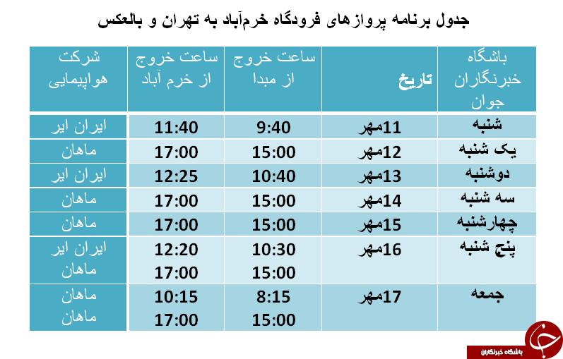 برنامه پروازهای فرودگاه خرمآباد از ۱۱ تا ۱۷ آبان