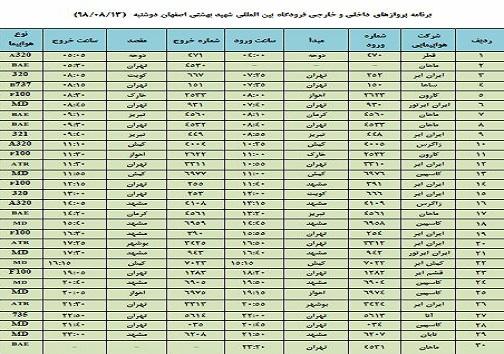 فهرست ۳۰ پرواز داخلی و خارجی فرودگاه اصفهان