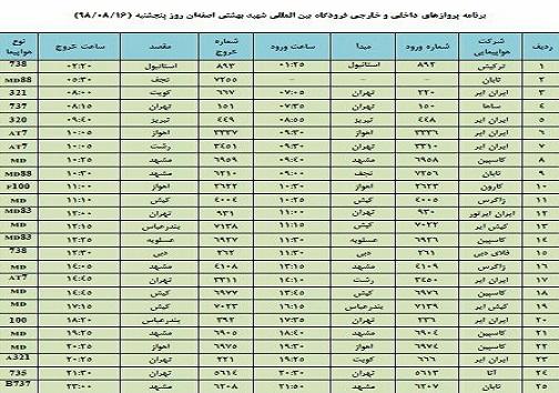 فهرست ۲۵ پرواز داخلی و خارجی فرودگاه اصفهان