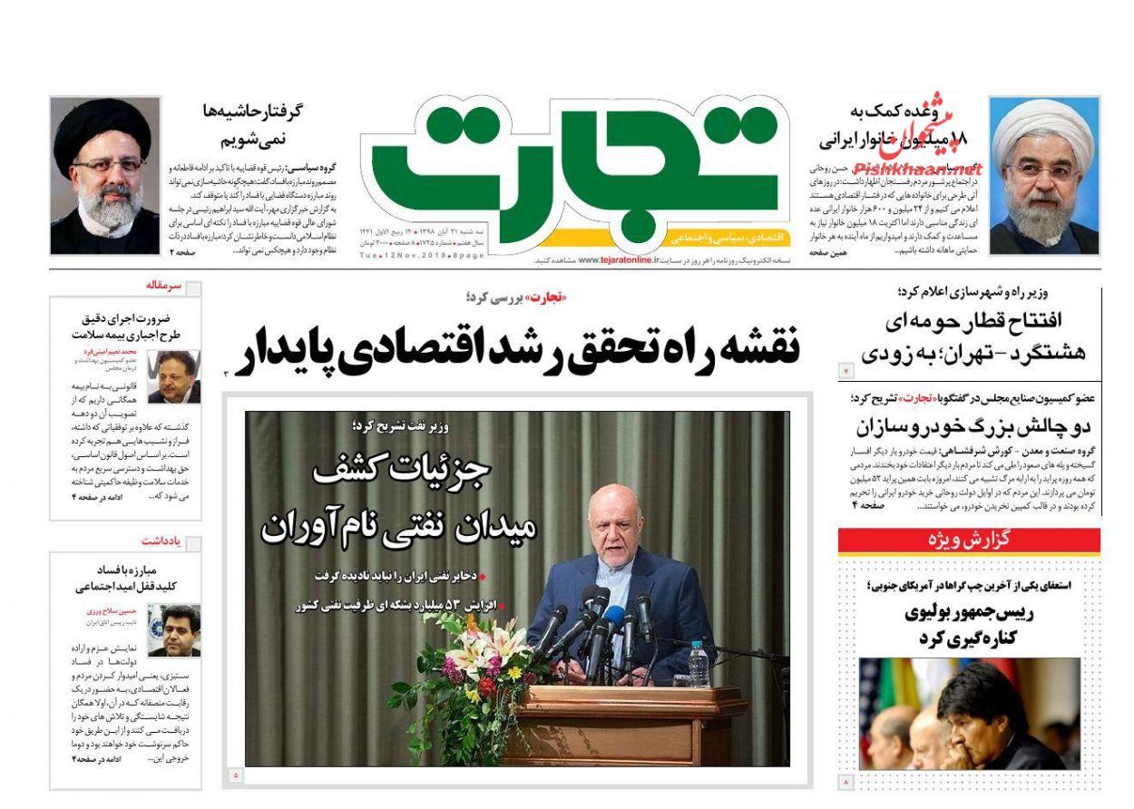 صفحه نخست روزنامههای اقتصادی ۲۱ آبان