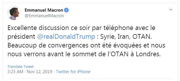 مکرون: با ترامپ درباره ایران، سوریه و ناتو صحبت کردیم