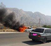 باشگاه خبرنگاران -توضیحات پلیس بوشهر در خصوص آتش سوزی خودرو پلیس راه/ به کسی آسیب نرسید + فیلم
