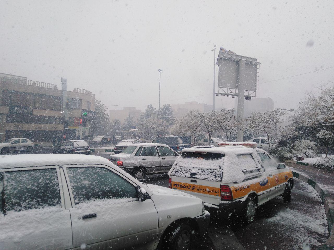آخرین وضعیت ترافیکی معابر پایتخت پس از بارش برف امروز